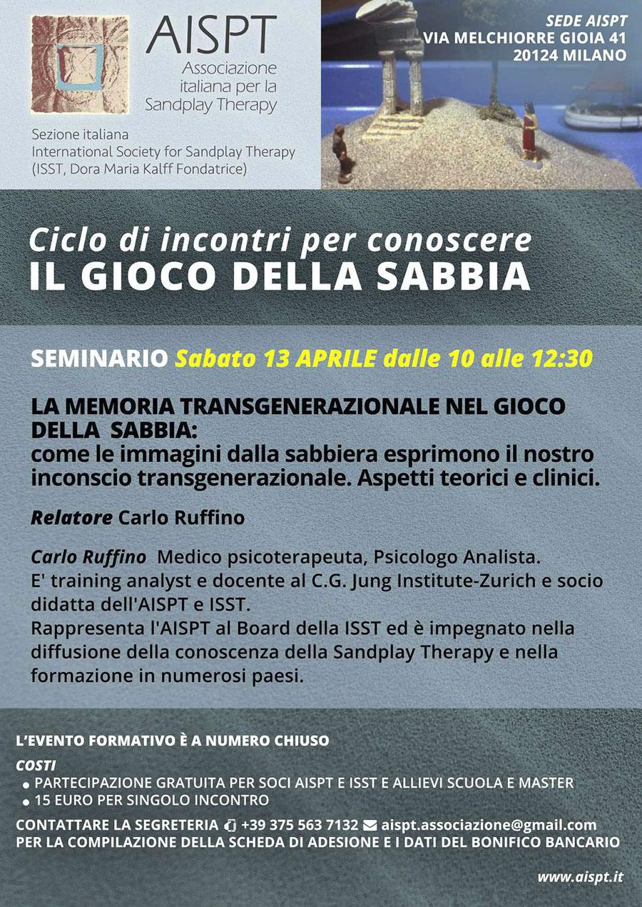 AISPT - SEMINARIO Sabato 13 Aprile - La memoria transgenerazionale nel gioco della sabbia